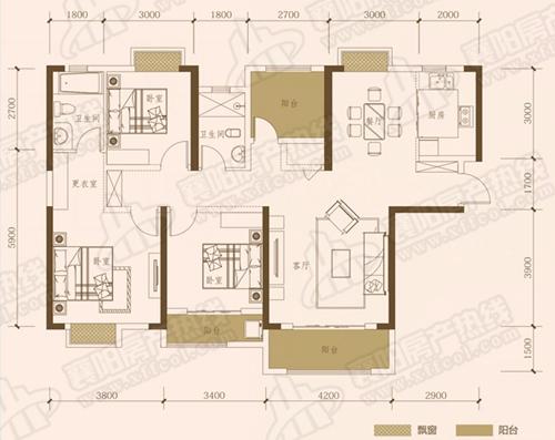 B1三室两厅两卫,面积约为141㎡