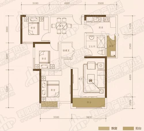 A3三室两厅一卫,面积约为106㎡