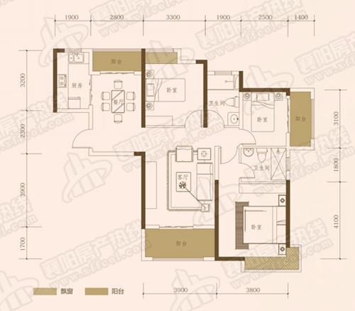 A1三室两厅两卫,面积约为124㎡
