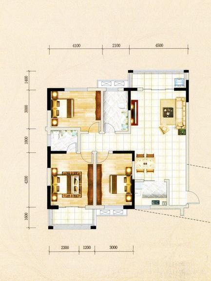 1号楼A1户型 3室2厅1厨2卫