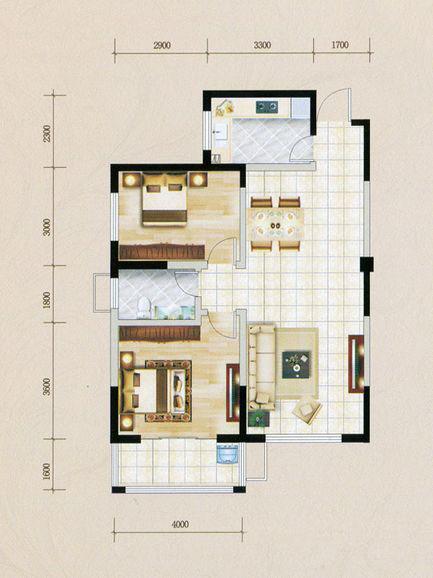 2号楼B户型 2室2厅1厨1卫 【售完】