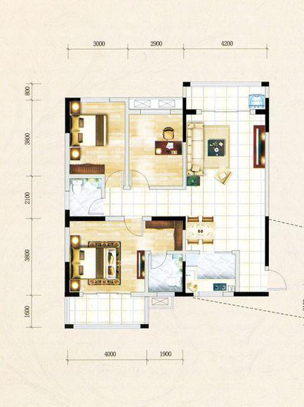 3号楼A1户型 3室2厅1厨2卫