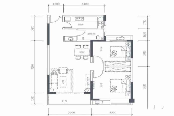 7号楼F2户型 2室2厅1厨1卫